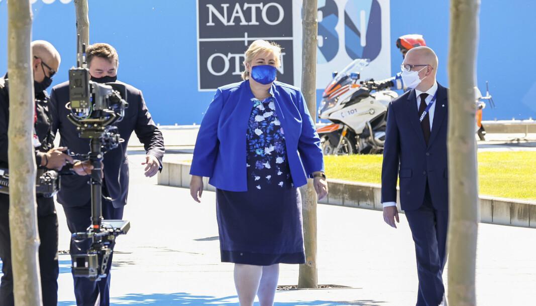 I BRUSSEL: Statsminister Erna Solberg på Nato-toppmøtet i Brussel mandag.