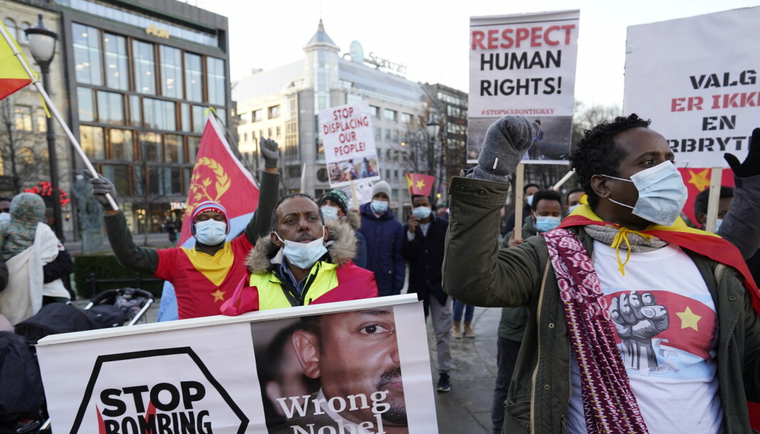 Statsminister Abiy Ahmed har høstet massiv internasjonal kritikk for sin krigføring i Etiopias Tigray-region. Her fra en demonstrasjon i Oslo i november.
