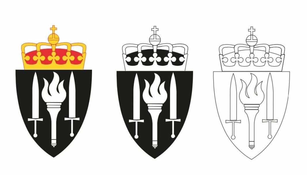 NYTT: Slik ser det nye heraldiske våpenet til Hærens skole for felles rekrutt- og fagutdanning ut.