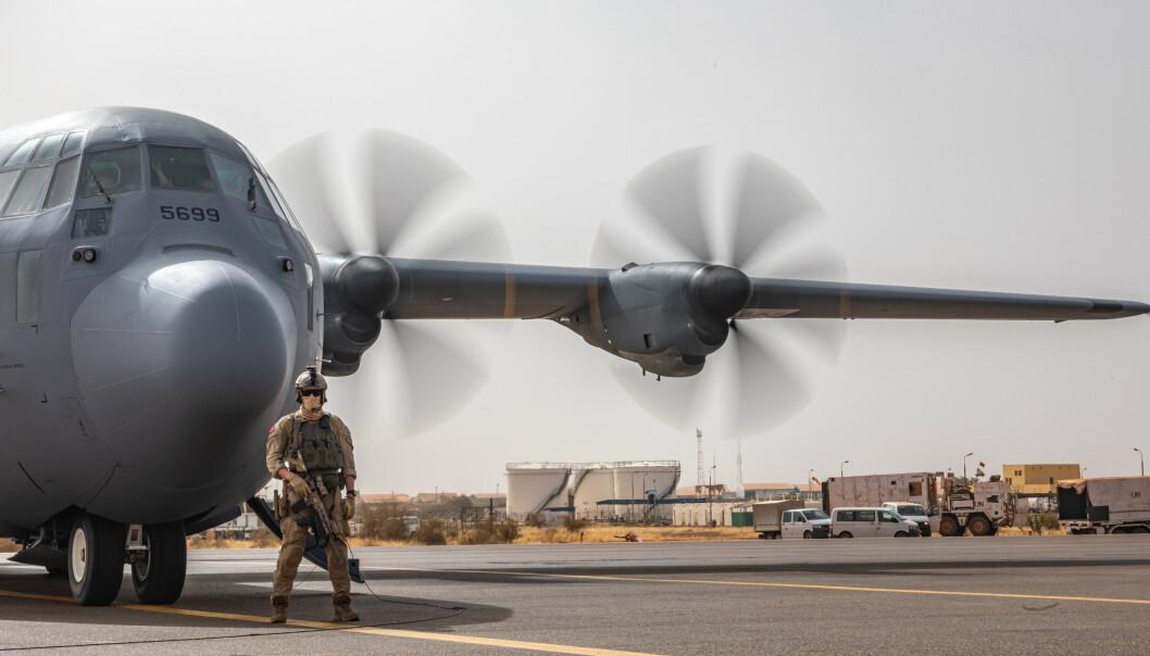 MINUSMA: Et norsk Hercules-transportfly i Mali i 2021.