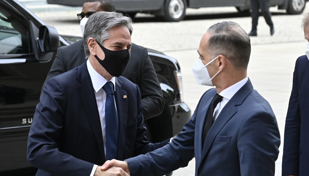 Tysklands utenriksminister Heiko Maas (t.h.) inviterte onsdag til fredskonferanse for Libya i Berlin, og blant deltakerne var blant andre USAs utenriksminister Antony Blinken (t.v.).