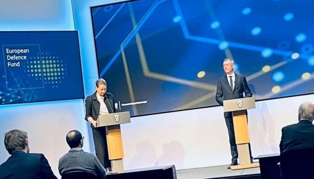 FORSVARSFOND: Forsvarsminister Frank Bakke-Jensen deltok på et digital seminar hvor Norge lanserte sin deltagelse i det europeiske forsvarsfondet.