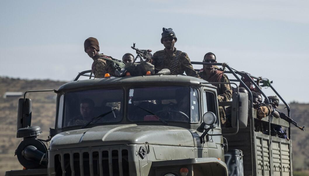 Etiopia gikk mandag inn for en ensidig våpenhvile i Tigray. På bildet er etiopiske regjeringsstyrker i nærheten av Agula nord i Mekele i begynnelsen av mai.