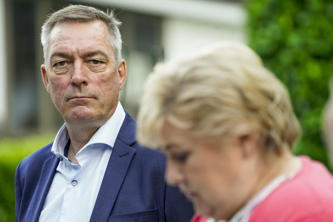 SIER NEI: Forsvarsminister Frank Bakke-Jensen og statsminister Erna Solberg møter norske presse i Brussel dagen før NATO-møtet i midten av juni 2021.