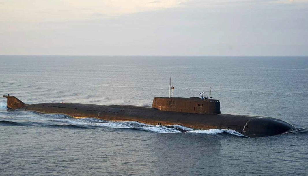 ATOMUBÅT: En av de russiske ubåtene som seiler gjennom dansk farvann i retning Sankt Petersburg i Russland.