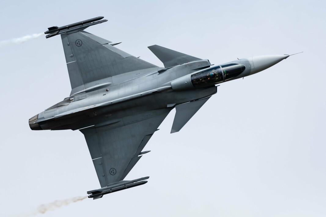 KAMPFLY: Et JAS 39 Gripen kampfly fra det svenske luftforsvaret. Sverige planlegger å kjøpe 60 nye Gripe E kampefly.