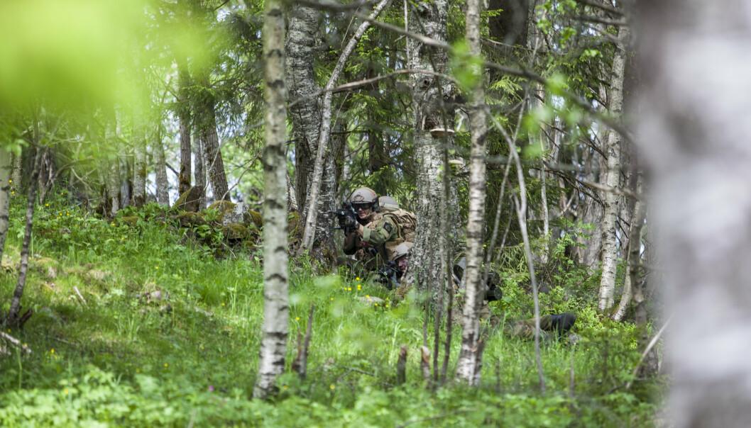 FUNN: Heimevernet oppdaget en mann i skogen. De gjorde narkotikafunn på 70 kilo. Bildet viser innsatsstyrke Derby (HV-02) under øvelse Oslofjord 2015.