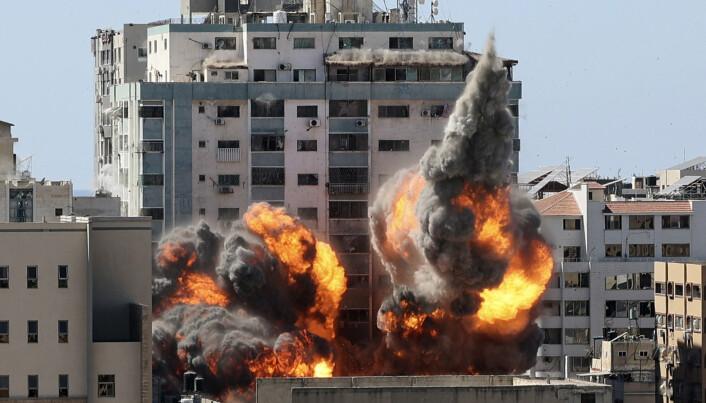 BOMBET: Blant bygningene som ble bombet av Israel på Gazastripen i mai, var dette høyhuset der en rekke internasjonale medier hadde sine kontorer, blant dem nyhetsbyrået AP.