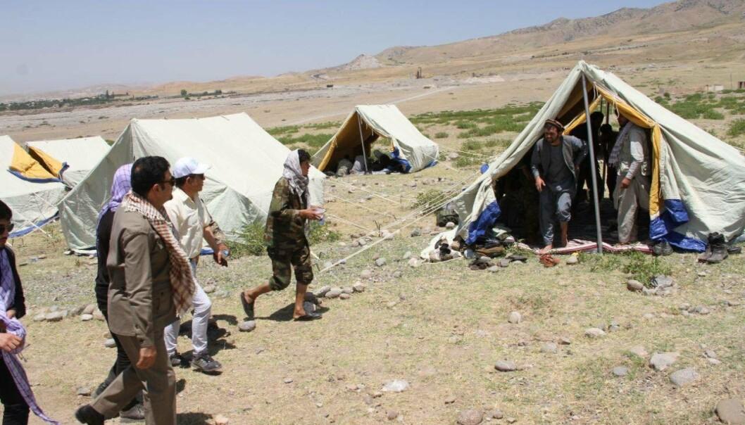 FLYKTNINGER: Afghanske flyktninger i Korog i Tajikistan. Bildet ble publisert på Facebook-siden til Afghanistans ambassadør til Tadsjikistan.
