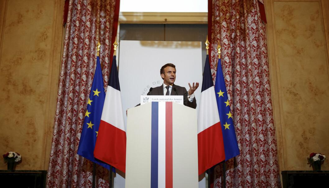TALE: President Emmanuel Macron varslet tirsdag om at Frankrike trekker ut styrker fra Sahel i 2022.