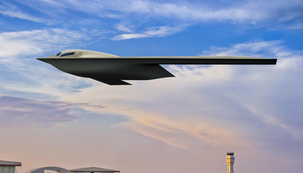 STEALTH: En fremstilling av det kommende B-21 bombeflyet som utvikles i USA. FLyet kommer til å ha såkalt stealth-teknologi, for å gjøre det vanskelig å oppdage med radar.