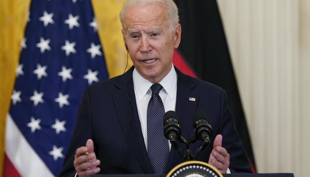 IKKE AKTUELT: Joe Biden sier at det foreløpig ikke er aktuelt å sende soldater til Haiti, under pressekonferansen i det hvite hus torsdag.