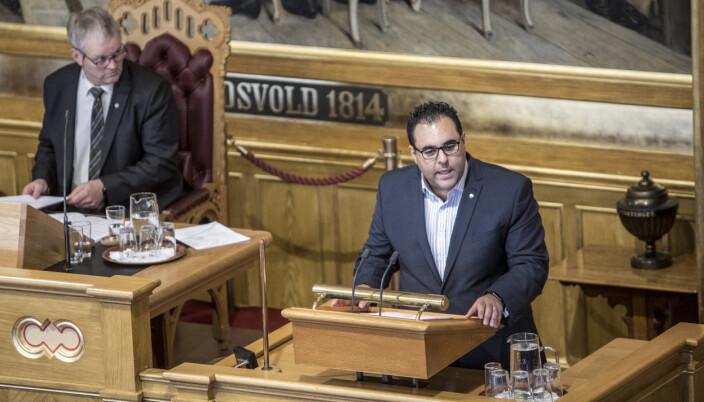 STORTINGSREPRESENTANT: Masud Gharahkhani (A) under en debatt på Stortinget.