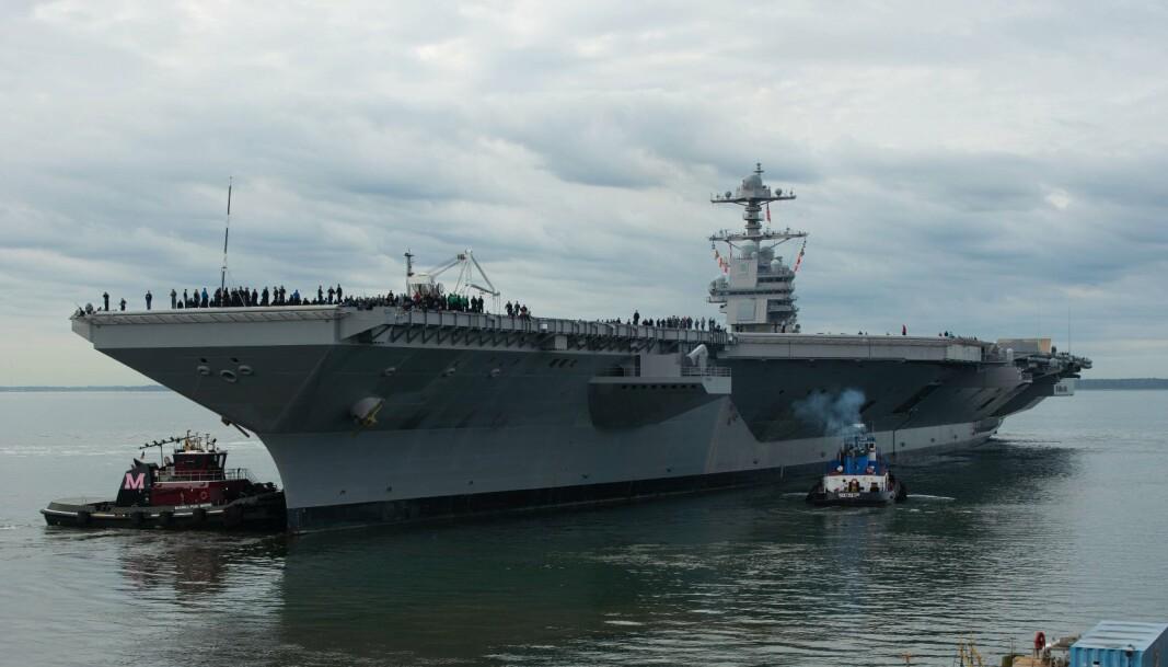 VERDENS STØRSTE: Hangarskipet USS Gerald Ford.