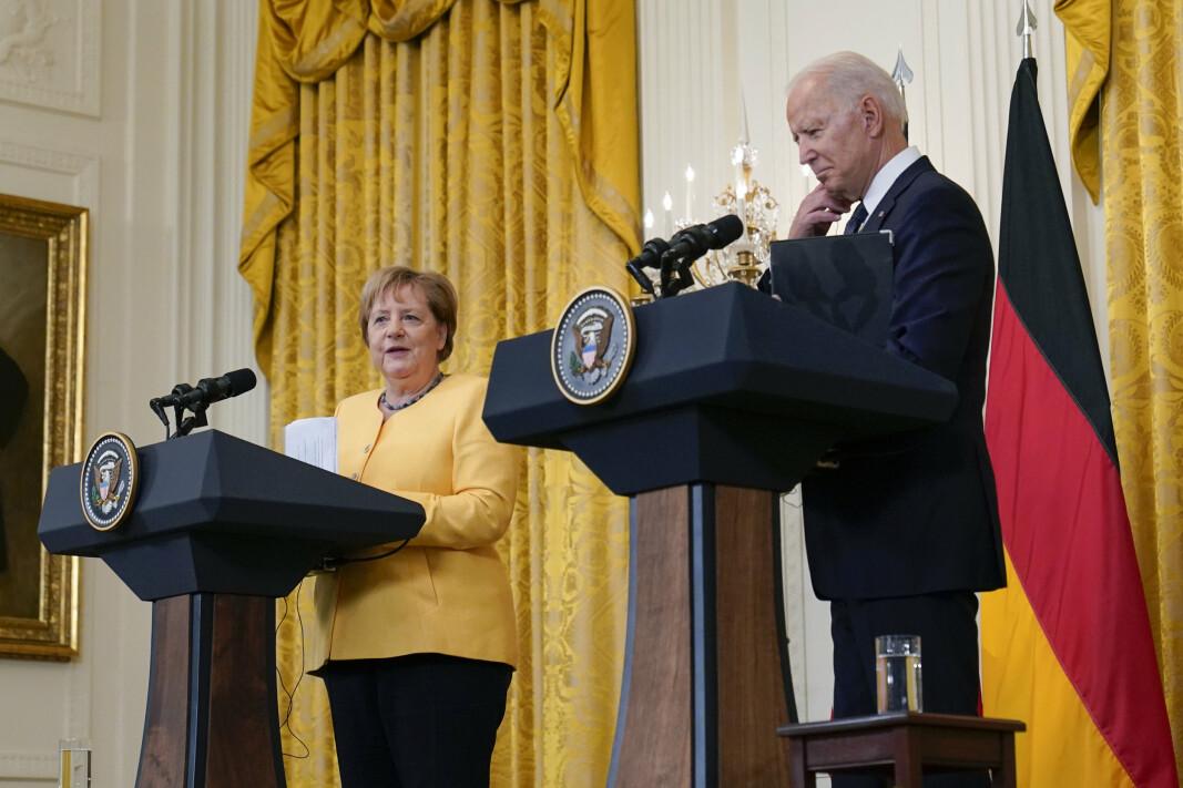 TOPPMØTE: Nord Stream 2 var et naturlig tema da president Joe Biden og Tysklands statsminister Angela Merkel møttes i Det hvite hus i Washington 15. juli.