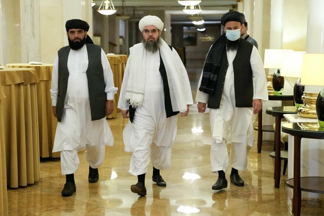 TALIBAN: Suhil Shaheen, Mawlawi Shahabuddin Dilawar og Mohammad Naimav representerte en Taliban-delegasjon som var i Moskva i midten av juli.