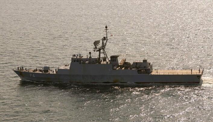 FREGATT: Den iranske fregatten Sahand fotografert i nærheten av Bornholm.