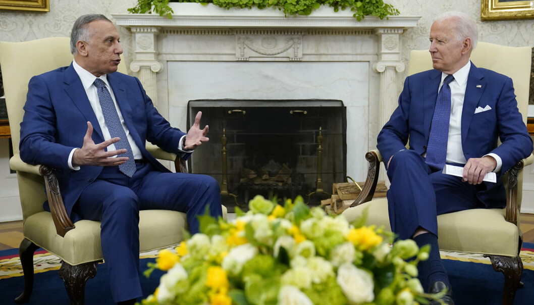 MØTE: Joe Biden sammen med Iraks statsminister Mustafa al-Kadhemi i Det hvite hus.