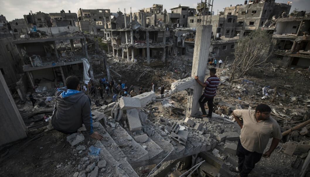ANGREP: Et av de israelske bombeangrepene under krigen mellom Israel og Hamas. Bildet ble tatt 13. mai.