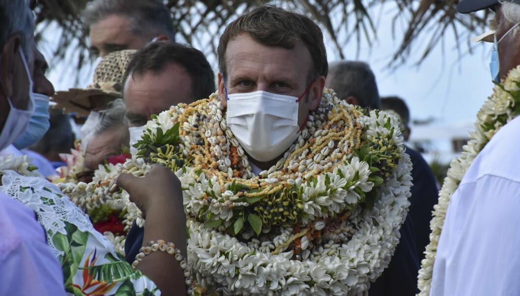 ATOMVÅPEN: Emmanuel Macron sa under et besøk på Fransk Polynesia at Frankrike står dem i gjeld etter å ha gjennomført atomvåpentesting på stillehavsøyene i tretti år.