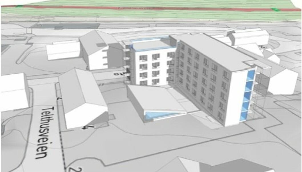 SKISSE: Slik er en av skissene til bygget, som Forsvarets forum har sett. Det presiseres at det kan bli endringer.