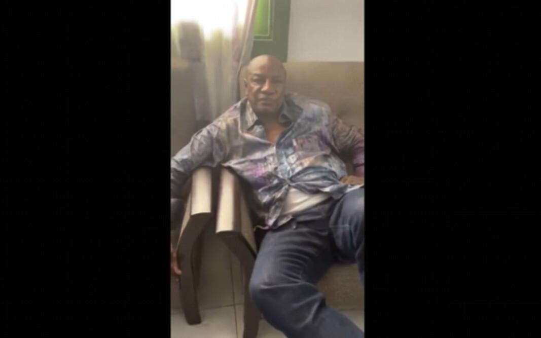 SOSIALE MEDIER: Bildet av president Alpha Conde (83) ble lagt ut i sosiale medier etter kuppet i Guinea. Det militære har tatt kontrollen over den statlige TV-kanalen, og har erklært at regjeringen er oppløst.
