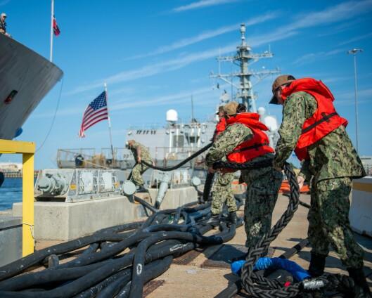 KNM Fridtjof Nansen har ankommet marinebasen i Norfolk