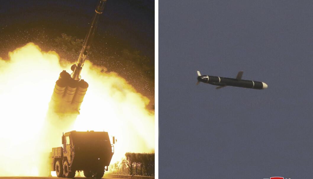 TEST: Kombinasjonsfoto utsendt av nordkoreanske myndigheter mandag og som viser bilder fra det som skal være helgens rakettester.