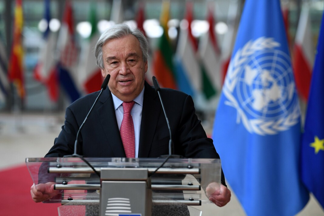 GENERALSEKRETÆR: António Guterres på giverkonferansen for Afghanistan i Genève i Sveits.