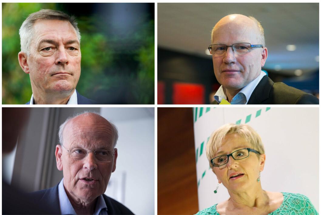 UTE: Fra øverst til venstre: Forsvarsminister Frank Bakke-Jensen (H), Hårek Elvenes (H), Michael Tetzschner (H) og Liv Signe Navarsete (Sp) er ferdige på Stortinget – for nå.