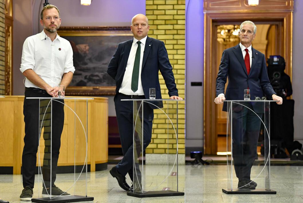 FLERTALL SAMMEN: Audun Lysbakken (f.v.), Trygve Slagsvold Vedum og Jonas Gahr Støre dagen etter stortingsvalget.