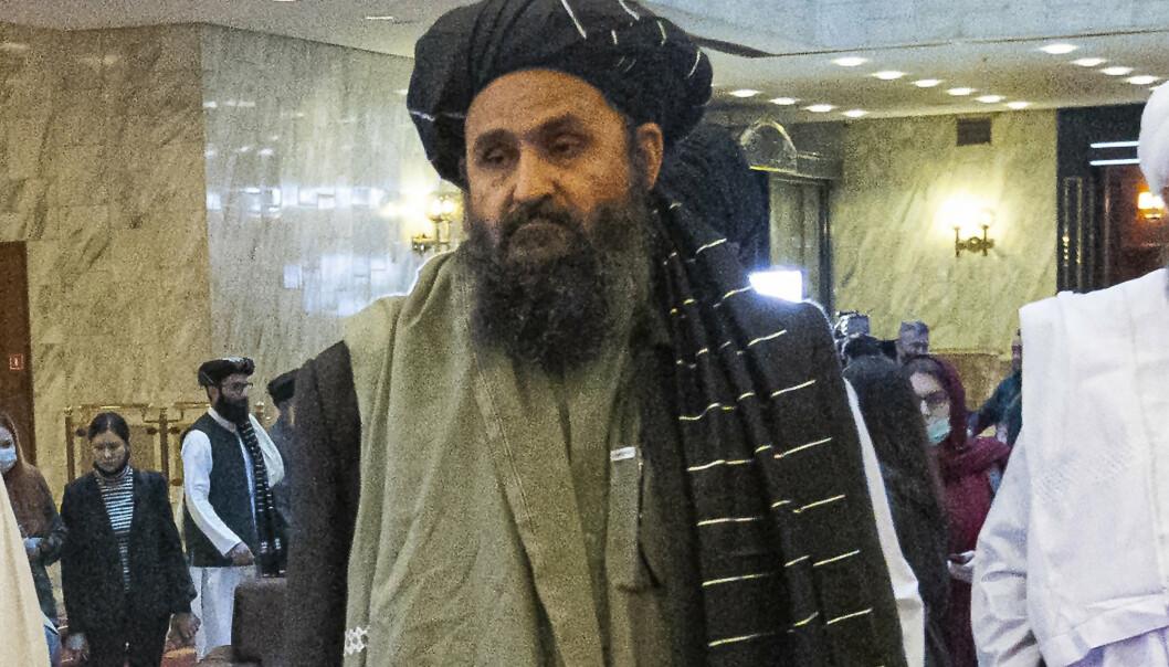 KRANGEL: Abdul Ghani Baradar, en av dem som var med på å stifte Taliban, i Moskva i mars. Baradar står i sentrum for en krangel i Taliban-ledelsen, ifølge BBC.