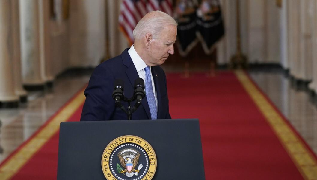 USA: Norge kan ikke lene bare lene seg på USA framover, skriver Oddmund Hammerstad. Her holder Joe Biden en tale etter at alle amerikanske styrker hadde trukket seg ut av Afghanistan.