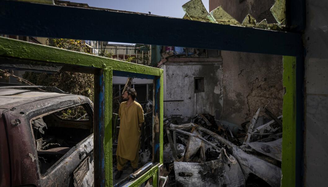 ANGREP: Åstedet for droneangrepet avbildet 13. september. Ti personer, blant dem sju barn, mistet livet i angrepet 29. august.