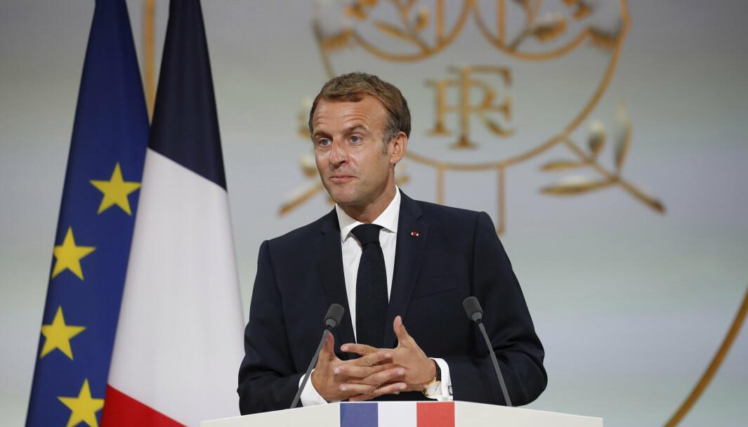 SAMARBEID: Frankrikes president Emmanuel Macron.