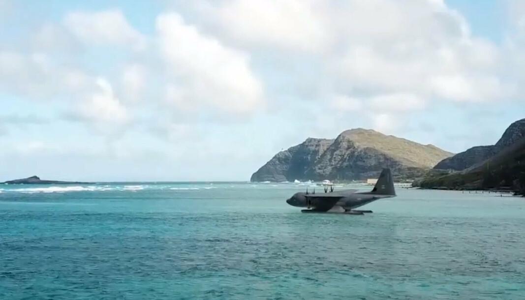 AMFIBIEFLY: En konsepttegning viser en ny Hercules-variant med pontonger som gjør det i stand til å lande på vannet.