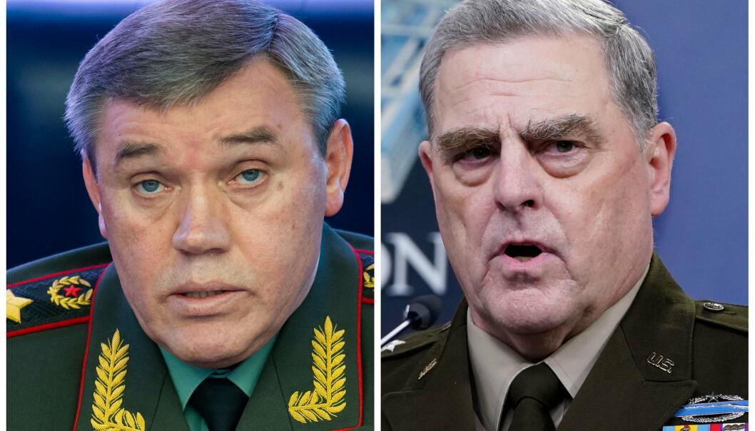MØTTES: Den russiske generalen Valery Gerasimov (t.v.) møtte onsdag med den amerikanske generalen Mark Milley i Finland.
