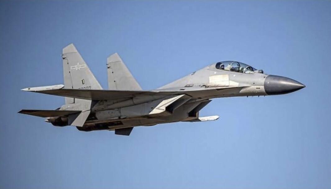 KINA: Kinesiske jagerfly deltok i en manøver for å true Taiwan torsdag.