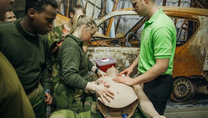 MINNESOTA: Den norske kontingenten trente på førstehjelp sammen med amerikanske soldater under forrige Norex-utveksling i 2019.