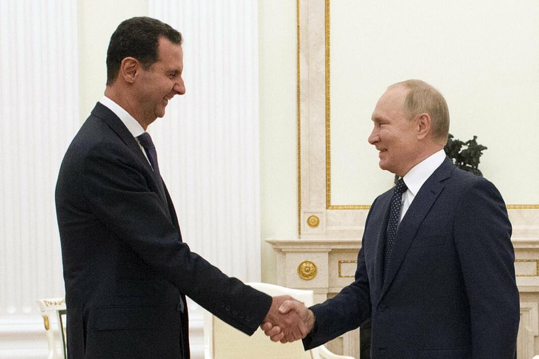 SAMARBEIDER: Syrias president Bashar Assad og Russlands president Vladimir Putin møttes i Moskva 13. september.