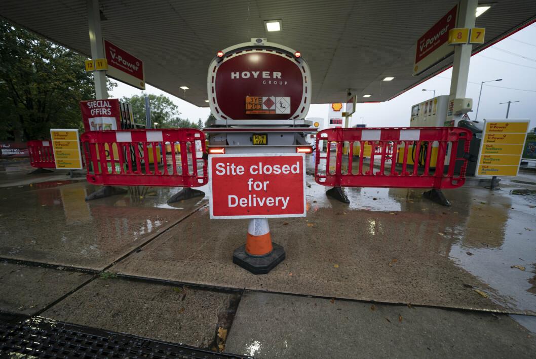 STENGT: En bensinstasjon i Manchester er stengt for påfyll etter panikkhandling av drivstoff.