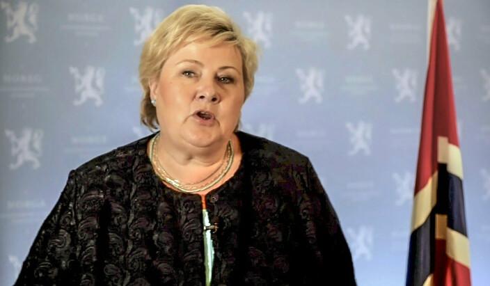 SAMARBEID: Erna Solberg sa at klima, helse og økonomisk krise viser at internasjonalt samarbeid trengs.