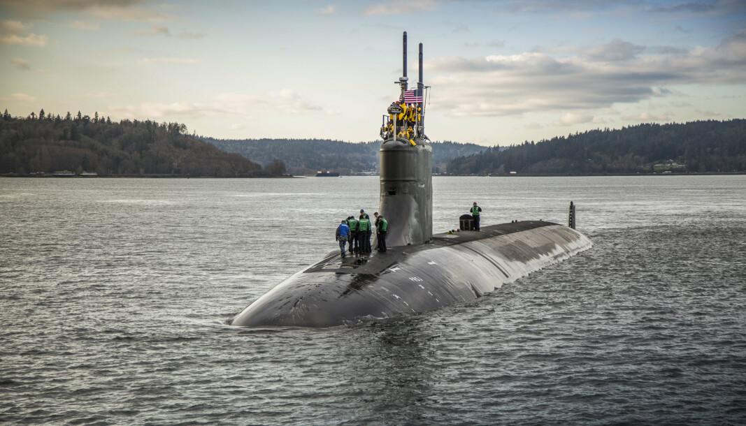 SKADET: Atomubåten USS Connecticut ble 2. oktober skadet i en kollisjon under vann. Den er nå framme ved den amerikanske marinebasen i Guam. Her er fartøyet ved marineverftet Puget Sound i delstaten Washington i 2016