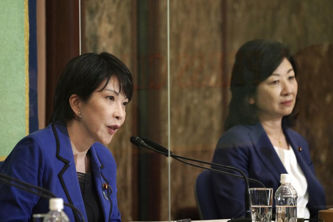 DOBLING: Sanae Takaichi og Seiko Noda fra Det liberaldemokratiske partiet som ønsker en dobling av forsvarsbudsjettet.