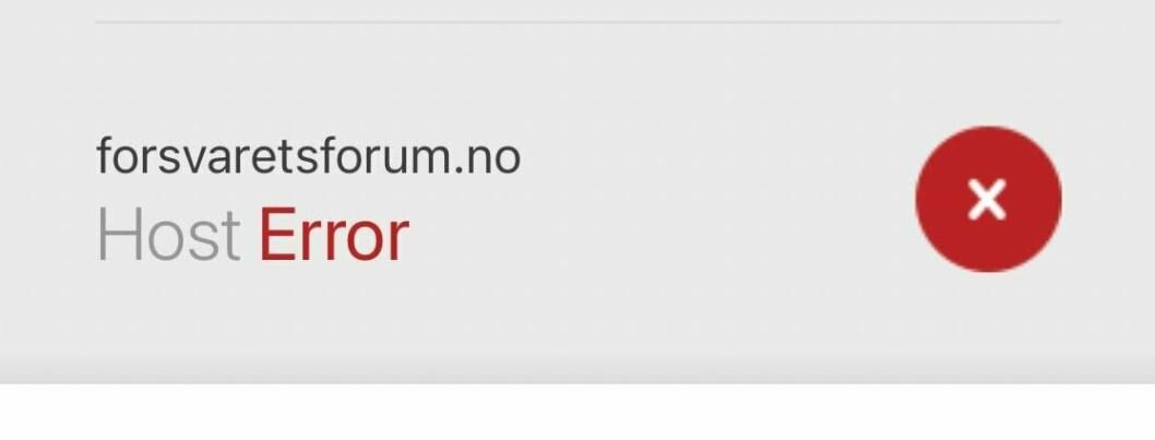 FEILMELDING: Denne feilmeldingen kom opp på Forsvarets forums nettsider onsdag morgen.