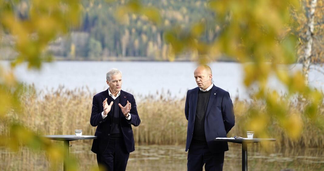 HURDALSPLATTFORMEN: Jonas Gahr Støre og Trygve Slagsvold Vedum presenterte Hurdalsplattformen som legger grunnlaget for den nye regjeringens politikk.